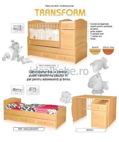 Bertoni - Mobilier lemn TRANSFORM + cearceaf de pat cadou