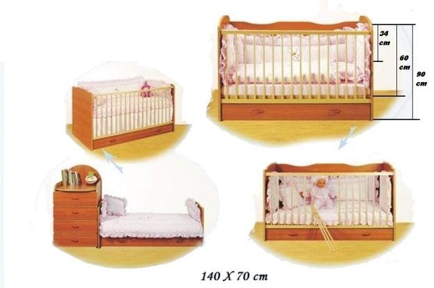 Bretco Design - Patut copii CINDY -Transformabil (cu sertar) - Cires 140x70 cm