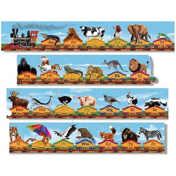 Melissa & Doug - Puzzle de podea Trenul alfabet