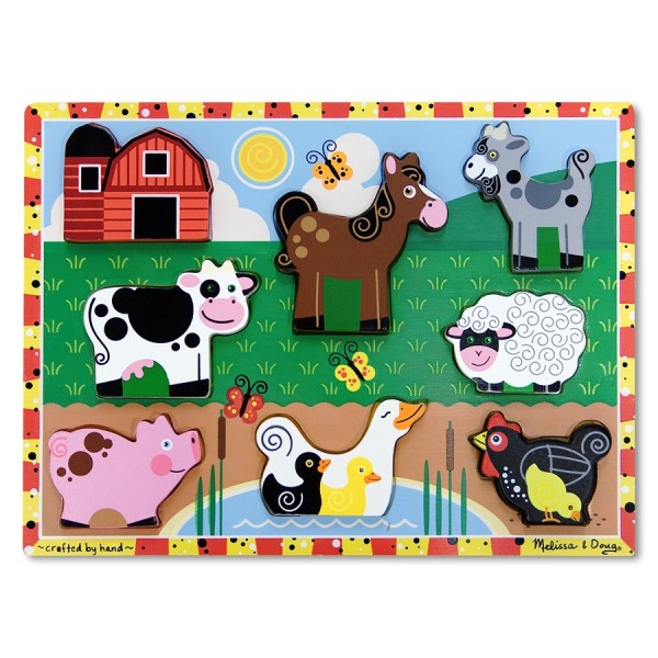 Melissa & Doug - Puzzle lemn in relief Animale de ferma