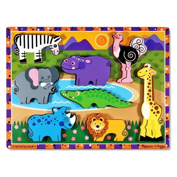 Melissa & Doug - Puzzle lemn in relief Safari