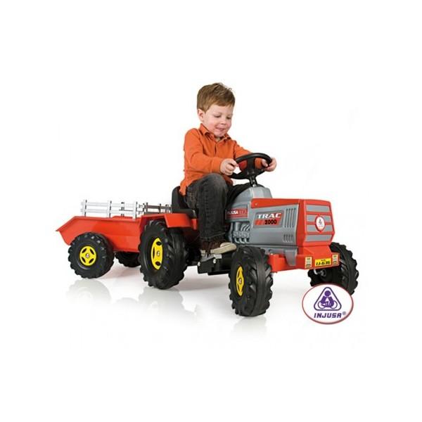 Injusa - Tractor electric copii cu remorca 6 v